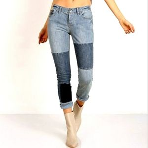 Free People Patched & Relaxed Skinny Jean SZ 31